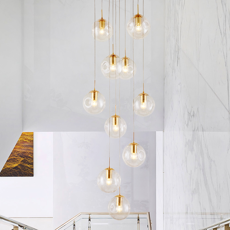 stairs highing <strong>lamp</strong> ceiling light decor long blown glass ball bubble <strong>spiral</strong> hanging modern chandelier <strong>lamp</strong> for home staircase