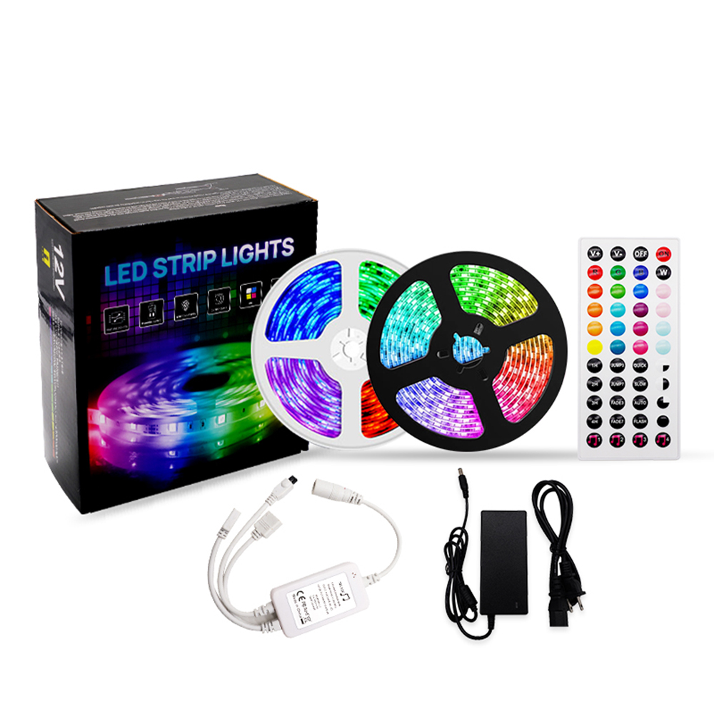 LED Light Strip Kit RGB SMD5050 65.6ft 360LED IP20 Non-Waterproof Music& IR Controller 44-key Remote led strip lights