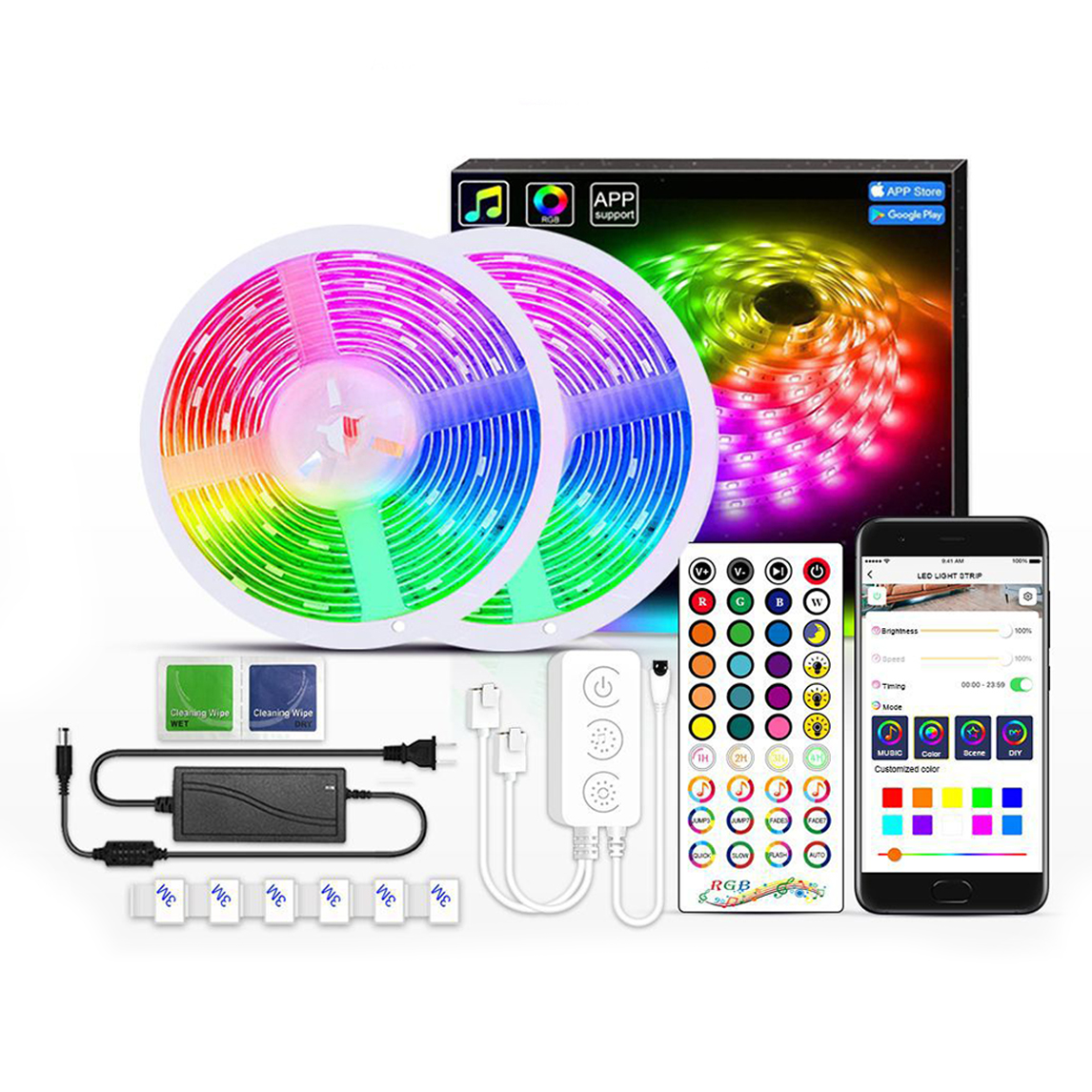 Private Model Bluetooth Music Activated 5050 Dream Color Led Strips light With 40 Key Remote Smart Phone App Control