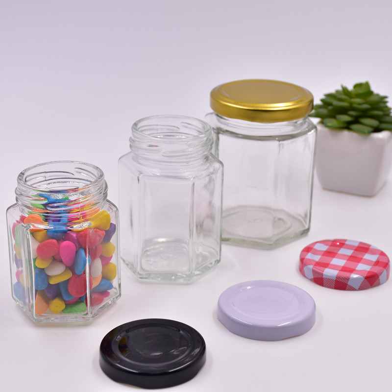 120ml clear hexagon bee honey jar jam jars empty hot sauce canning food storage container glass bottles with screw tinplate lids