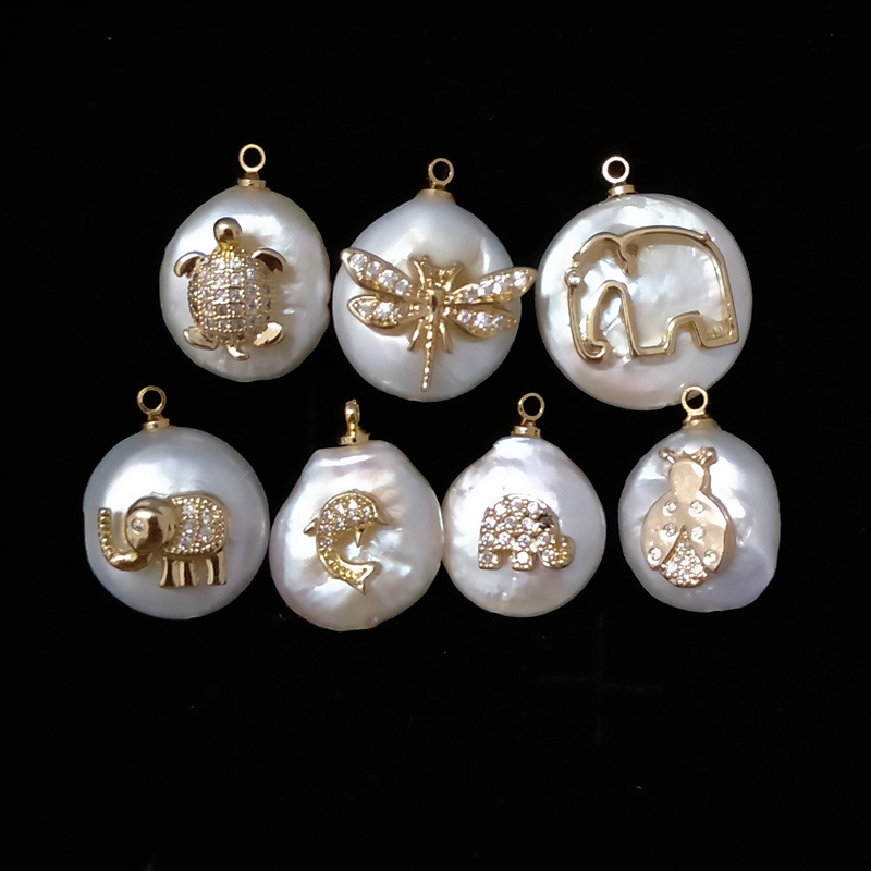 Natural white baroque pendant animal styling cz micro freshwater pearl pendants necklace designs jewelry