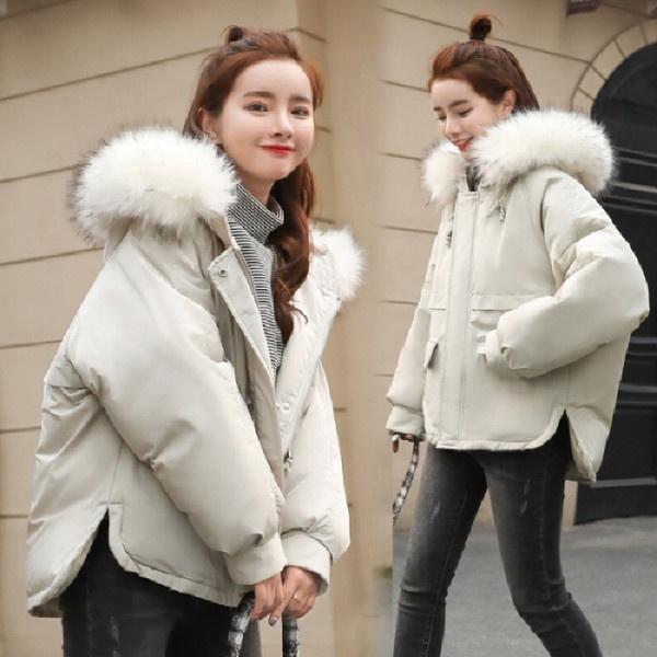 2019 新しい冬のフード付きビッグ毛皮の襟ダウン綿のコートの女性