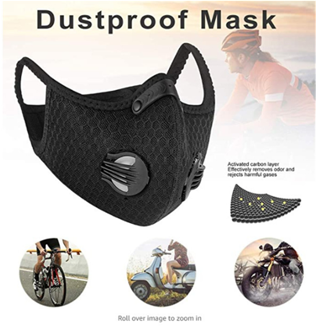 Dust maskes with Filter 2 Valves,Replaceable Activated Carbon Filters Maskes Sports Face Maskes for Running, Cycling, Motorbikes - KingCare | KingCare.net