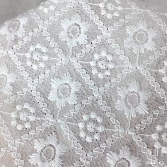 CRF0514 white swiss embroidery cotton fabric stock lot wholesale cotton fabric
