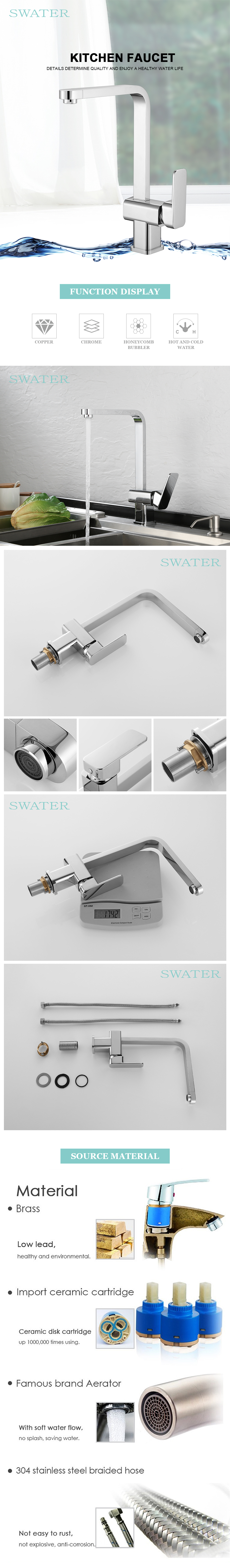 Brushed Nickel Health Solid Brass Water Modern Kitchen Taps And Mixers Faucet