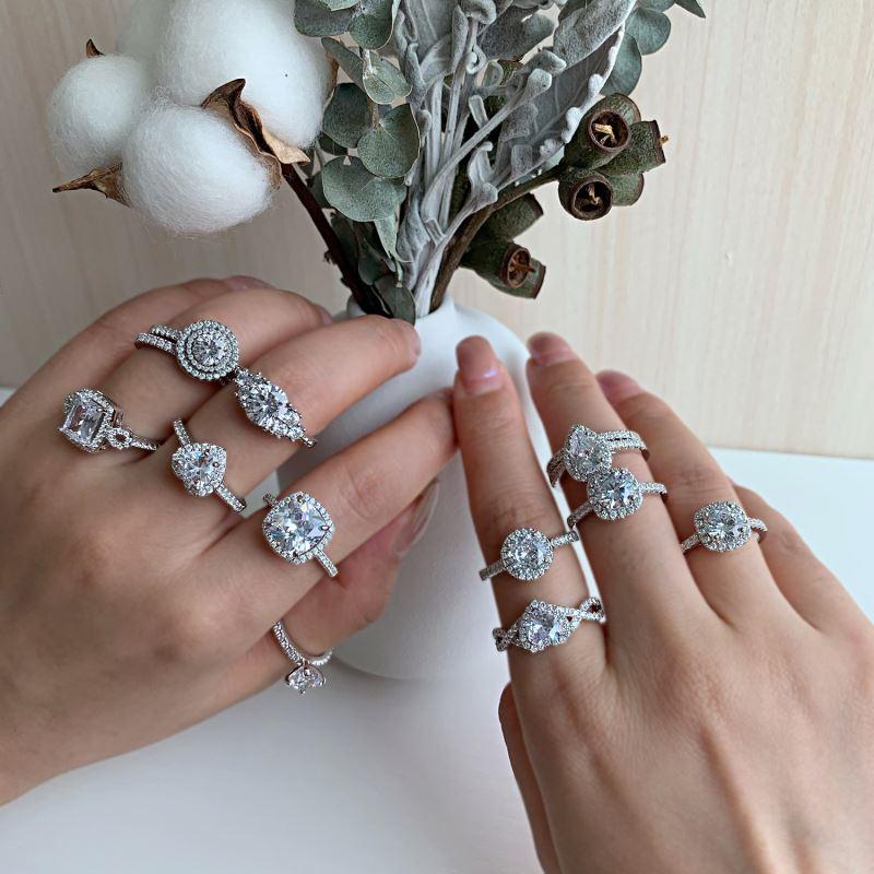 Фианит бриллиант 18k позолоченные Insta штабелируемые кольца ювелирные изделия для женщин