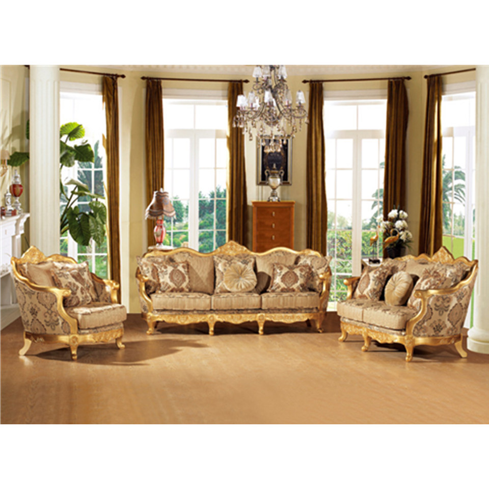 S2028-B Foshan gold furniture luxury royal sofa set antique carved wooden frame sofa decoration
