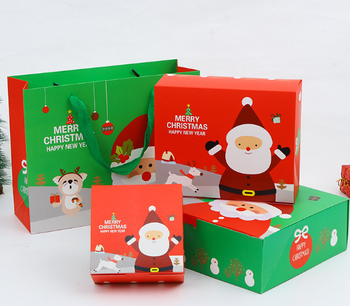 Creative Wholesale Christmas Paper  Gift Candy Cookie Santa Box And Bag Set On Sale