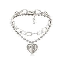 Женское колье-чокер в стиле стимпанк, готическое многослойное ожерелье бусина серебряного цвета с буквенным принтом в виде сердца, ювелирн...(Китай)