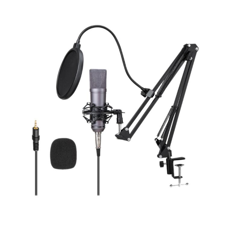 Different Studio Recording Microfono Condensador Audifonos Con Podcast BM800 Condenser Microfone Sem Fio FM Wireless Microphone, Golden gray