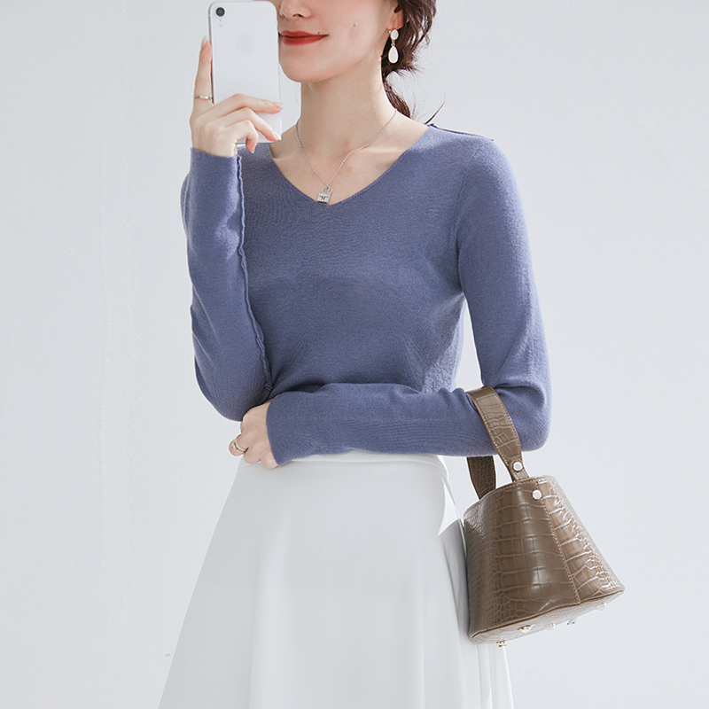 Fall 2009 Fashion V-Collar Slender Long Sleeve Knitted Sweater Woman Pullover Woollen Sweater