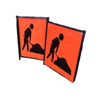 Australia Road Work Ahead Temporary Road Sign Pasting With Plastic Board With High Visibility Reflective Sheet 600mm*600mm