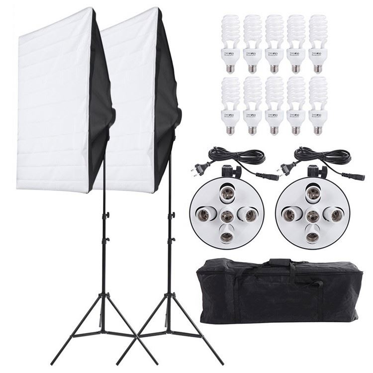 Photograph Studio Lighting Kit Continuous Soft box Lighting Kit 5500K Professional Light System with 10pcs Bulbs 2pc 5in1 Socket