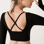 Latest design promotional fitness bra hot sexy yoga bra Back cross LONG SLEEVE BRA