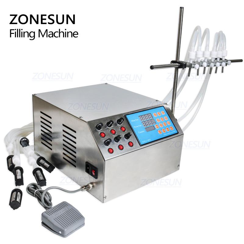 ZONESUN 6 Nozzles Liquid Bottle Perfume Water Juice Essential Oil Electric Digital Control Pump Liquid Filling Machine Supply