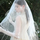 New Design Lace Edge Wedding Veils Headwear White Bridal Netting Tulle Long veil
