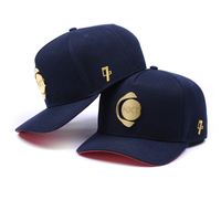 Small minimum order brand quality customized metal plate logo curved brim baseball cap hat