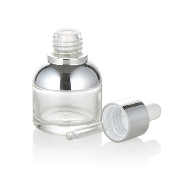 Luxury cosmetics packaging 15ml 30ml 50ml clear  glass serum  bottle aluminum collar with dropper