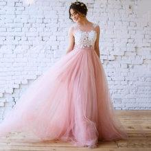Румяное розовое богемное свадебное платье es 2020 сексуальное иллюзионное кружевное длинное пляжное свадебное платье с аппликацией свадебно...(Китай)