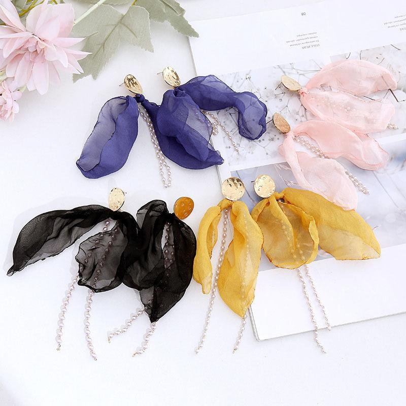 Orecchini fiocco di moda di estate tessuto della maglia orecchini di perle nappa orecchini