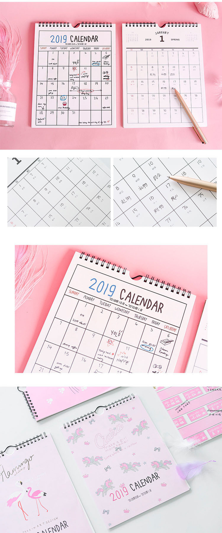 china supplier planner wall calender printing