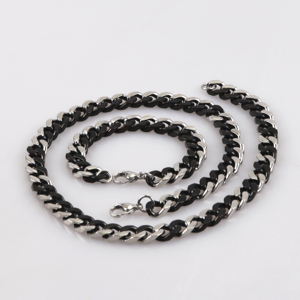 Classic Surgical 316L High Quality Stainless Steel Black Two Tones Double Curbed Flat Chain Jewelry Set Necklace With Bracelet