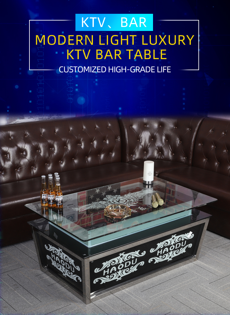LED light cocktail  table tempered glass table for ktv bar andnight club bar table
