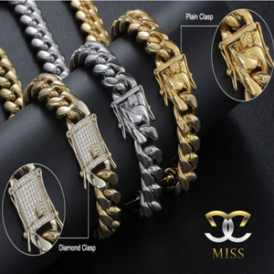Miss brand hip-hop jewelry men new design clasp thick stainless steel 14K 18K gold plated bracelet necklace cuban link chain
