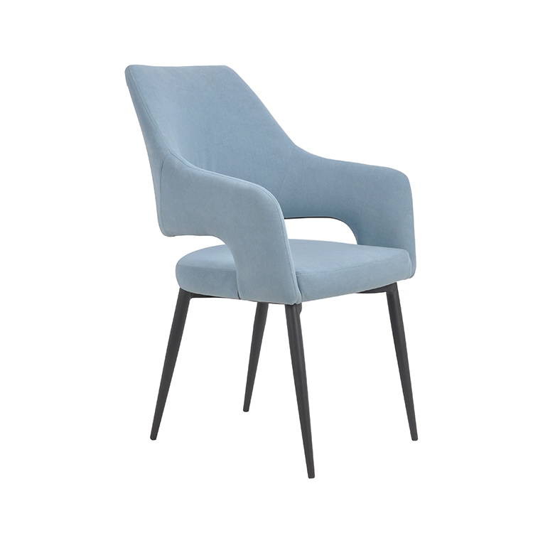Tufted french style steel black base blue velvet chairs set dining room chairs modern nordic with armrest restaurant dining