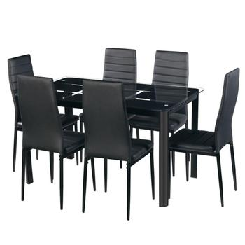 UK Freight Free Modern Nordic Style 6 Seaters Dining Table and Chairs Glass Top Dining Table Set