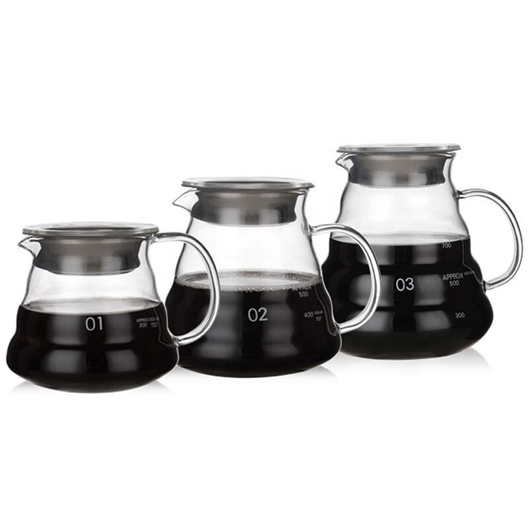 Wholesale 360ml 600ml 800ml V60 Teapot Coffee Server <strong>Glass</strong> Coffee Pot for Pour Over Coffee