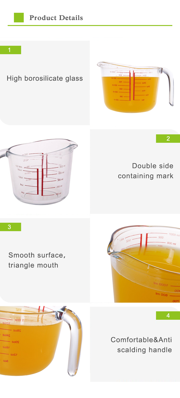 Newest Hot selling heat resistant glass measuring cups and spoons