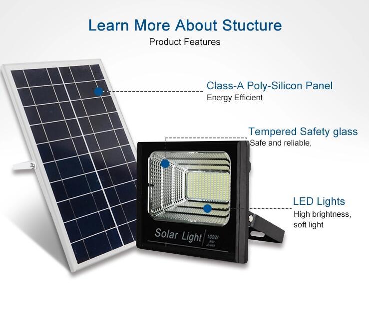 Высокое качество открытый IP65 Водонепроницаемый Солнечный светодиодный прожектор с пультом дистанционного управления