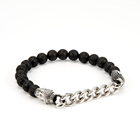 Customized charm steel buddha head religious bracelet lava bead bracelet