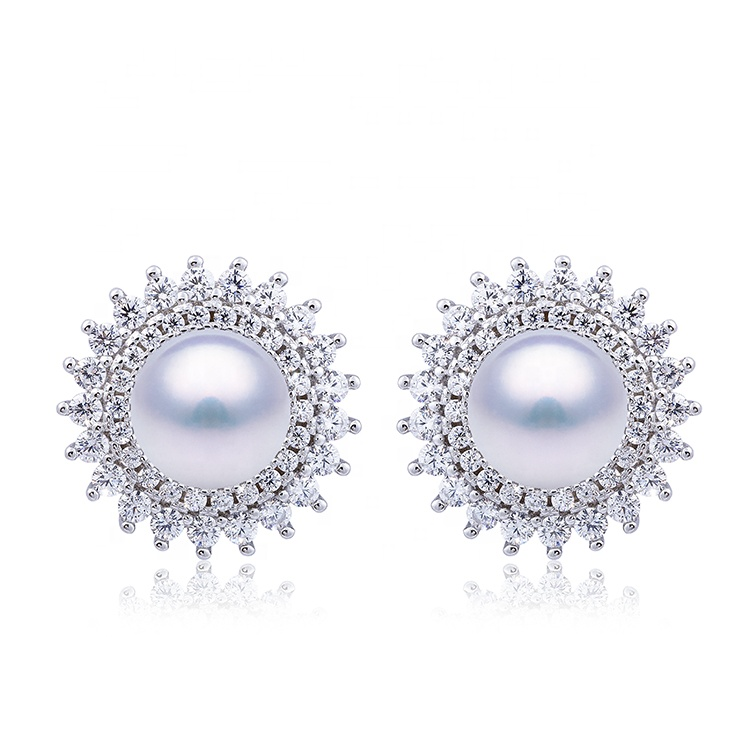 Sharon Design Top Quality Jewelry Set Sterling Silver Flower Shape Freshwater <strong>Pearl</strong> <strong>Stud</strong> <strong>Earrings</strong>