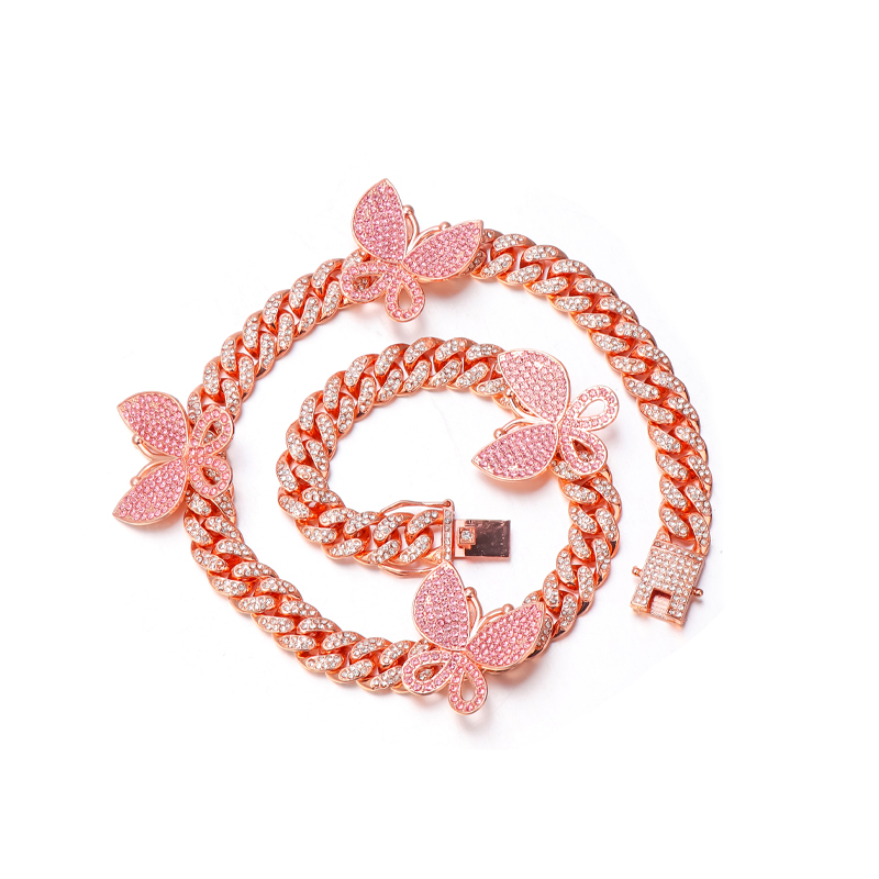 Luxury Personalized Hotselling Hips Hops 12mm Bling Bling Rhinestone <strong>Crystal</strong> Rose Gold Butterfly Cuban Chain Choker Necklace