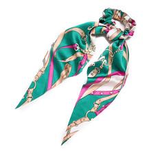 Модный бант, держатель для хвоста, эластичные резинки для волос для девочек, цветочный принт, аксессуары для волос, Женская лента для волос, ...(Китай)