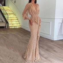 Абрикосовое длинное платье с оборками и блестками, женские длинные рукава, v-образный вырез, сверкающие платья для выпускного вечера, вечерн...(Китай)