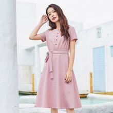 Винтажное платье в горошек с бантом на талии и поясом, inman-лето(Китай)
