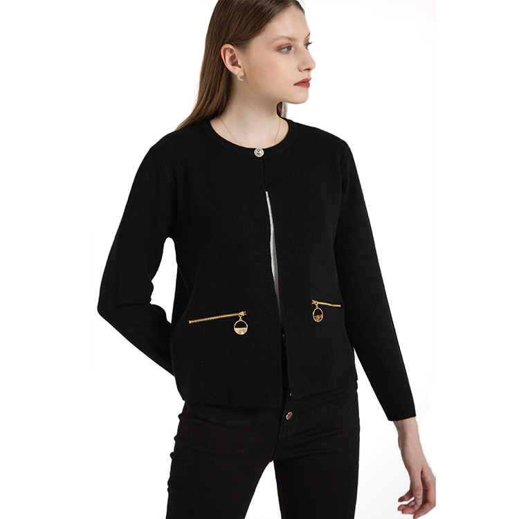 High Standard China Most Reliable Manufacturer High Quality Black Lady Knitted Cardigan for Women