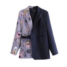 Женский блейзер с цветочным принтом KPYTOMOA, винтажный блейзер с карманами и поясом, верхняя одежда для офиса, 2020(Китай)
