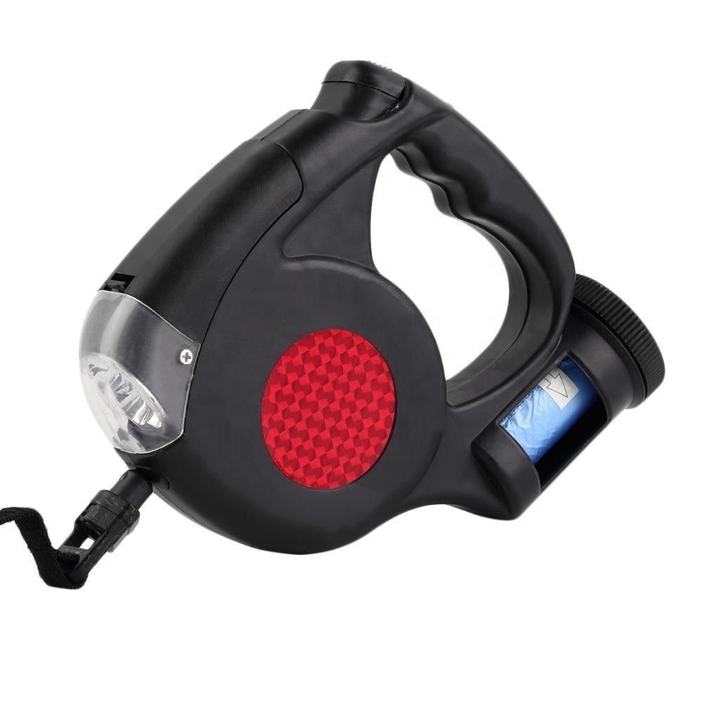 Automático portátil led trela do cão retrátil com poop bag Distribuidor e flash de luz