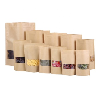 OEM transparent windows with zip lock kraft paper stand up laminated food bag