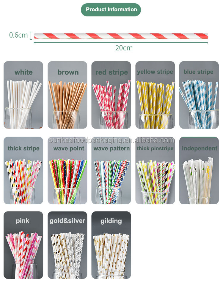 195 mm 197 mm 200 mm 205 mm 210 mm biodegradable black paper straw