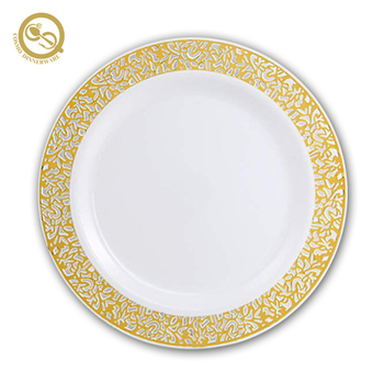 Hollow-carved design elegant cheap disposable plastic plates