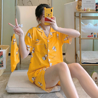 Summer Cardigan Spandex Cotton Cute pajamas Large Size Short Sleeve Suit