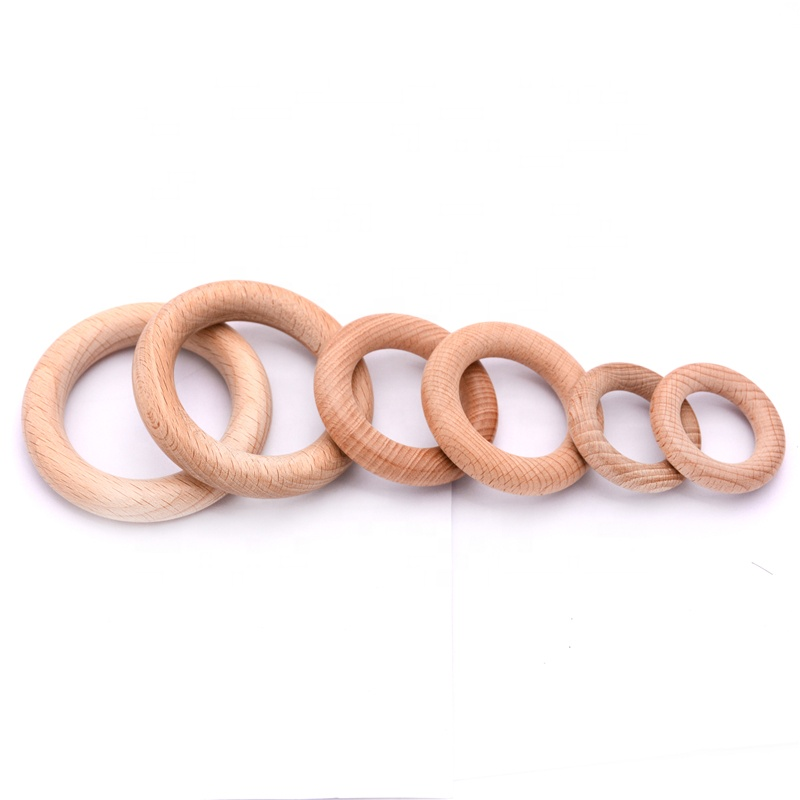 Wholesale Loose Beech Wooden Ring For Wooden Baby Teething Toy