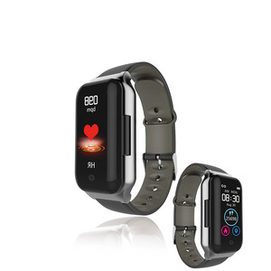 Heart rate fitness tracker blood pressure monitor 2 in 1 android smart watch with earbuds headphones