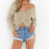 Custom 2019 New Pullover Knitted Off the Shoulder Cropped Fashion Ladies Sexy Fall Winter Lady Sweater Women