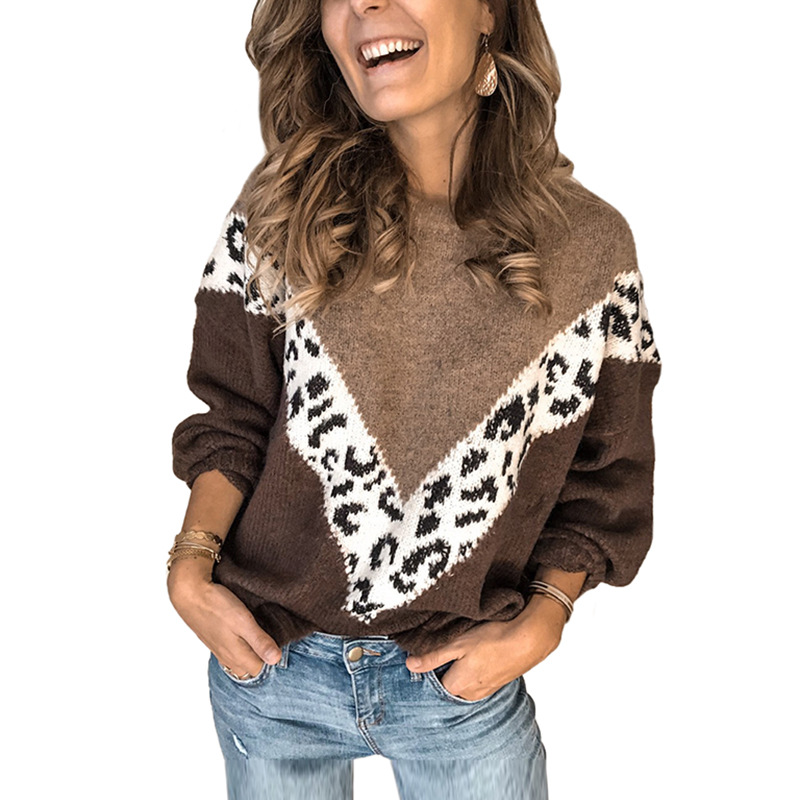 Women Autumn Loose  Casual Tops  Retro Hit Color Leopard Stitching Knit Sweater